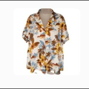 ZARA Floral Linen Camp Shirt NWT
